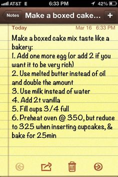 Photo: Make a boxed cake mix taste like a bakery cake. This is the cheat that I use for my cakes. Categories: Food And Drink Added: Description: Make a boxed cake mix taste like a bakery cake. This is the cheat that I use for my cakes. Just Desserts, Dessert Recipes, French Desserts, Health Desserts, Boxed Cake Recipes, Recipes Using Cake Mix, Dinner Recipes, French Food, Health Foods