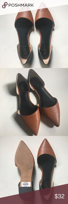 Two Tone D'Orsay Flats LOFT D'Orsay Flats. Pointy toe. Size 7. Please see last photo for slight damage at tips of toe. Manmade upper and sole. Gently worn a few times and in great condition. LOFT Shoes Flats & Loafers