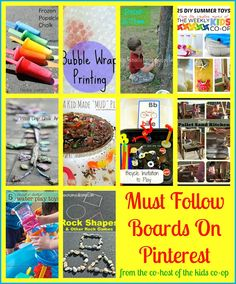 Must Follow Boards On Pinterest  for the best kid activities and crafts.  From The Co-Host Of The Kids Co-op.