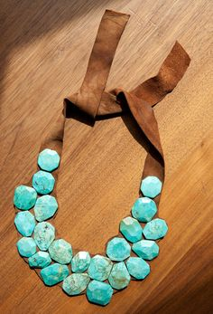 Karen Necklace by kristinbartlett on Etsy, $100.00 - Cool way to wear turquoise. The chunkier the better!!!
