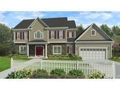 Home Plan HOMEPW77070 is a gorgeous 2549 sq ft, 2 story, 4 bedroom, 2 bathroom plan influenced by  Traditional  style architecture.