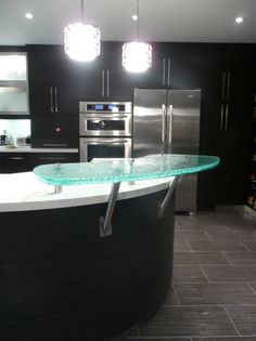 Raised glass bartop contemporary kitchen countertops