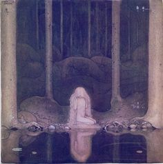 Princess Tuvstarr and the Fishpond (1913) by John Bauer