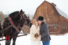 dreamy, romantic, rustic winter wedding in the mountains with horses