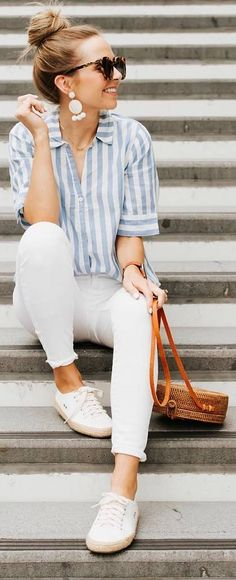 Blue striped shirt, white jeans