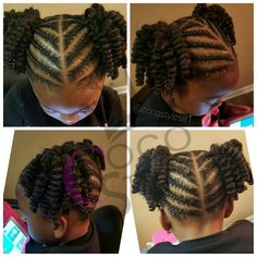 Childrens twisted mohawk cute hairstyle for a little girl cornrows and 2 strand twist pony tails urmus Images