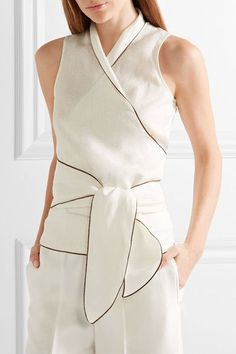 Max Mara - Linen Wrap Top - White - UK16