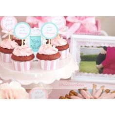 Cupcakes for Pink and Tiffany green inspired baby shower dessert table! For diy ideas, recipes & more, follow me @sosweetbites on Instagram!