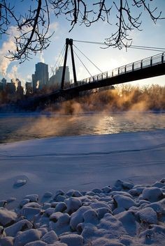 Cold morning in Calgary, Alberta, Canada.I want to go see this place one day.