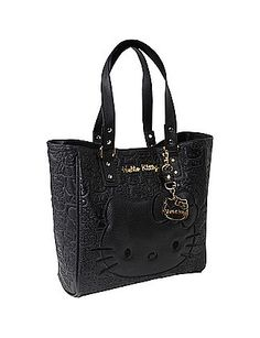 d41b4f18e2e2 Hello Kitty Black Embossed Face Tote  JoannHaggard Hello Kitty Jewelry