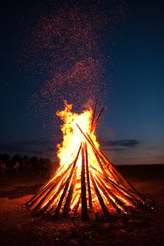 "Johannisfeuer. Bonfires lit on St. John's Eve (aka Midsummer's Eve). ""Your figure looks so splendid, silhouetted against the fire."""