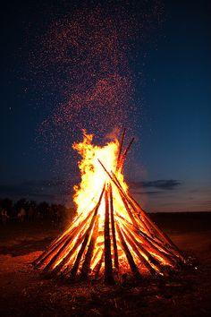 "Johannisfeuer. Bonfires lit on St. John's Eve (aka Midsummer's Eve). ""Your figure looks so splendid, silhouetted against the fire."""