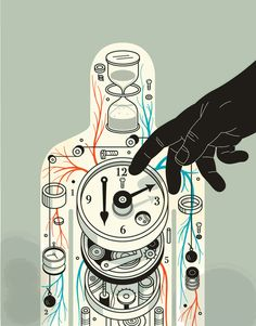 """""""How can we take advantage of what we know about the clock?"""" From """"Hacking the biological clock,"""" Spring 2015, Stanford Medicine Magazine - Stanford University School of Medicine. Illustration by Harry Campbell."""