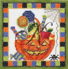 NEEDLEPOINT HANDPAINTED HALLOWEEN KELLY CLARK OCTOBER TRICK OR TREAT BASKET! Here it is!! Brand New! Get right to work on this gorgeous 18 mesh design. PRODUCT DETAILS: - 18 Mesh Canvas - The size of