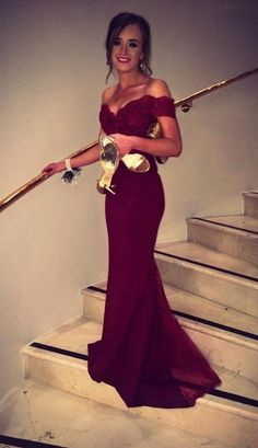 2016 Burgundy Mermaid Prom Dresses Off-the-Shoulder Lace Beaded Long Sexy Evening Gowns by lenore