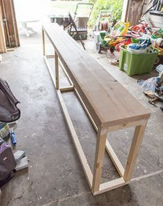 Couch table diy, shelving behind couch, diy couch, diy sofa table, entry . Furniture Projects, Diy Furniture, Antique Furniture, Rustic Furniture, Outdoor Furniture, Diy Projects, Furniture Design, Modern Furniture, Furniture Stores