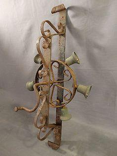 Antique-VICTORIAN-Era-STREET-VENDER-CART-Rotary-Crank-WROUGHT-IRON-BRASS-BELL