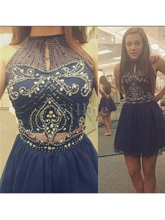 Discount Dazzling Homecoming Dresses Short Homecoming Dress,High Neck Halter Navy Tulle Skirt Two Piece Short Prom Dress Dark Blue Prom Dresses, Royal Blue Homecoming Dresses, Two Piece Homecoming Dress, Prom Dresses 2016, Dresses Short, Prom Party Dresses, Formal Dresses, Bridesmaid Dresses, Dress Prom