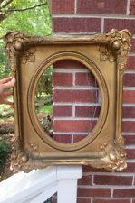 ANTIQUE VICTORIAN 19C Ornate Gesso Picture Frame 11 1/4 x 14 1/8 Oval insert