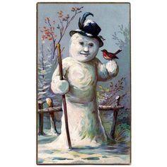 Christmas card Snowman with robin Canvas Art - (18 x 24)