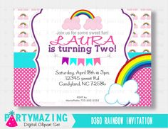 New from Partymazing on Etsy: Rainbow Invitation Sweet Rainbow party Printable invitation rainbow printable Inviatation D360 (10.00 USD) For more @partymazing