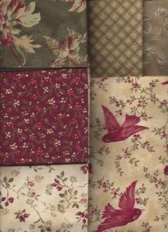 6 Half Yards Bundle,Flannel, Flowers, Birds, Maywood Studio, Red, Green, Ivory