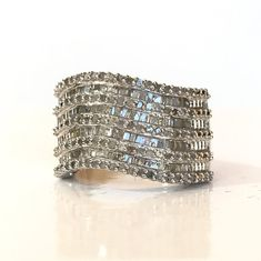 1 CT Diamond Sterling Silver Ring 1 Carat Baguette & Round