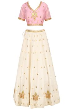 White gota patti embroidered lehenga and pink blouse set available only at Pernia's Pop Up Shop.