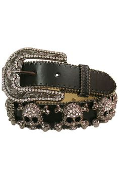 Black Leather Belt With Rhinestone Skulls