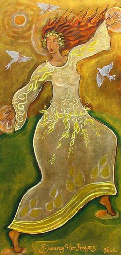 """The root of joy is gratefulness."" ~ David Steindl-Rast Artist: Shiloh Sophia Mccloud Title: 'Dancing Her Prayers ' lis Sacred Feminine, Divine Feminine, Goddess Art, Divine Goddess, Thing 1, Shiloh, Sacred Art, Mellow Yellow, Angels"