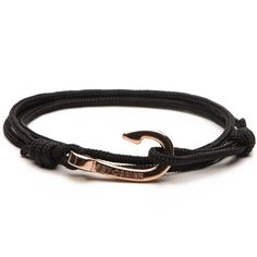 Pulseira Masculina em Corda Náutica - Hook Black Rope Rose Gold | Key Design - Key Design