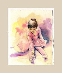 """Dancers are my favorites and ballet dancers are all the more. The little ballerina is learning the ropes of the beautiful dance form. Inspired by watching little ballet dancers performing I made this ink and watercolor painting Indian hand-made paper. .    Size : 5.5""""x 7 """"  No mat or frame provided.    Supplementary images are for reference only.    Colors of the painting may slightly vary from what you see on the PC/ mobile screen due to monitor/camera settings.     Dispatched from India…"""