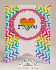 Snippets By Mendi: A Doodlebug Kraft In Color Chevron Washi Tape Pennant Shaped Card.