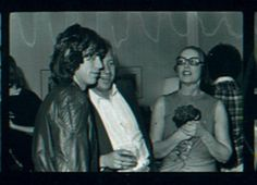 Mick Jagger, David Maysles and Edie at the private opening night party for Grey Gardens at a suite in the Plaza across from the Paris Theater. Feb. 1976 photo by Marianne Barcellona.