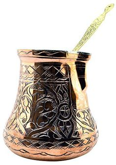 CopperBull 2016 Design XXL Heavy Duty Engraved Copper Turkish Greek Coffee Pot Stovetop Coffee Maker Cezve Ibrik Briki with Brass Handle (24 Oz) - http://teacoffeestore.com/copperbull-2016-design-xxl-heavy-duty-engraved-copper-turkish-greek-coffee-pot-stovetop-coffee-maker-cezve-ibrik-briki-with-brass-handle-24-oz/