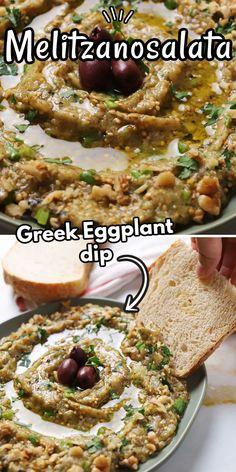 Eggplant Dip Recipes, Roasted Eggplant Dip, Roast Eggplant, Vegetarian Recipes, Snack Recipes, Cooking Recipes, Greek Eggplant Dip, Greek Dip, Roasted Peppers