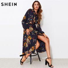 Шеин самостоятельно галстук Fit & Flare ботанический платье-рубашка черное с лацканами с длинным рукавом опоясанный линия платье Элегантная Рабочая цветочный длинное платье
