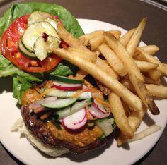 Chipolte Burger with garden relish on a La Strada bun.