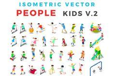 ISOMETRIC VECTOR People Kids v2 by Sentavio on @creativemarket