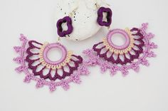 Crochet earrings - Large crochet earrings - Crochet earring jewelry - Purple and lavender- Fan style