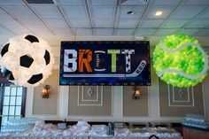 Sports Themed Bar Mitzvah Backdrop with Soccer