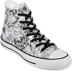 Converse Chuck Taylor Womens Outline Floral High-Top Sneakers ($40) ❤ liked on Polyvore featuring shoes, sneakers, lace up shoes, flower print shoes, floral sneakers, lace up sneakers and floral print shoes