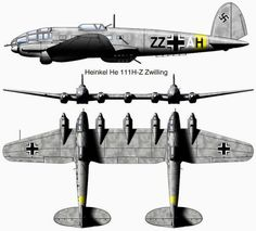 Heinkel (He-111/Z) / Zwilling: It was tough to get supplies and troops to remote areas during WW2. Willy Messerschmidt's aircraft firm came up with a gigantic new cargo glider: the Me-321 / Gigant. At 23 tons fully loaded, it required an aircraft powerful enough to tow it. Heinkel and his designers came up with a novel solution. They simply bolted two individual Heinkel-111s together to create one massive twin-boom plane, adding another engine on the spar between them.