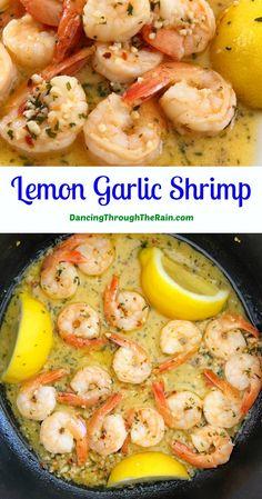 Sauted Shrimp Recipes, Frozen Shrimp Recipes, Shrimp Recipes For Dinner, Chicken And Shrimp Recipes, Shrimp Dishes, Garlic Recipes, Lemon Recipes, Fish Recipes, Seafood Recipes