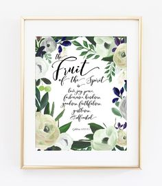 The Fruit of the Spirit Bible Verse Art Print in Cream Watercolor Flor – Willow & Olive