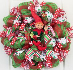 Christmas Elf Deco Mesh Wreath, Red White Green, Indoor Outdoor Decor, Mantel Decoration, Wall Decoration, Christmas Wreaths