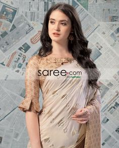 Beige Checks Blouse with Pleated Sleeves Design - Blouse designs Indian Blouse Designs, New Saree Blouse Designs, Blouse Designs Catalogue, Simple Blouse Designs, Stylish Blouse Design, Bridal Blouse Designs, Latest Blouse Designs, Saree Blouse Patterns, Blouse Styles