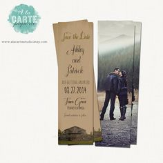 Save the Date Bookmark - Vintage Wedding - Rustic Wedding