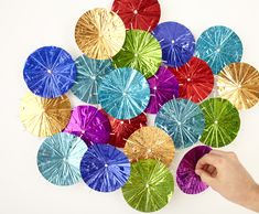 drink umbrellas as wall decor