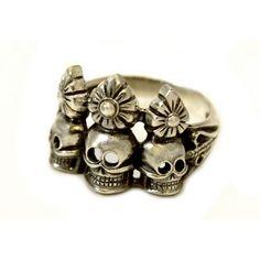Кольцо с черепами (серебро)